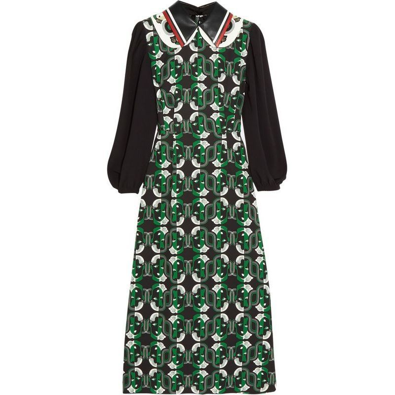 SALE!★MiuMiuミュウミュウ★trimmed printed crepe midi dress