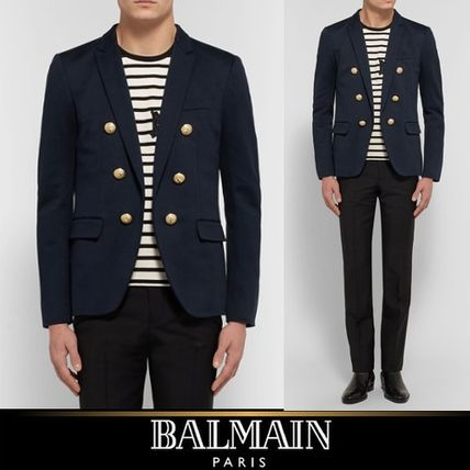 17th SS's BALMAIN double breasted style slim jacket blue