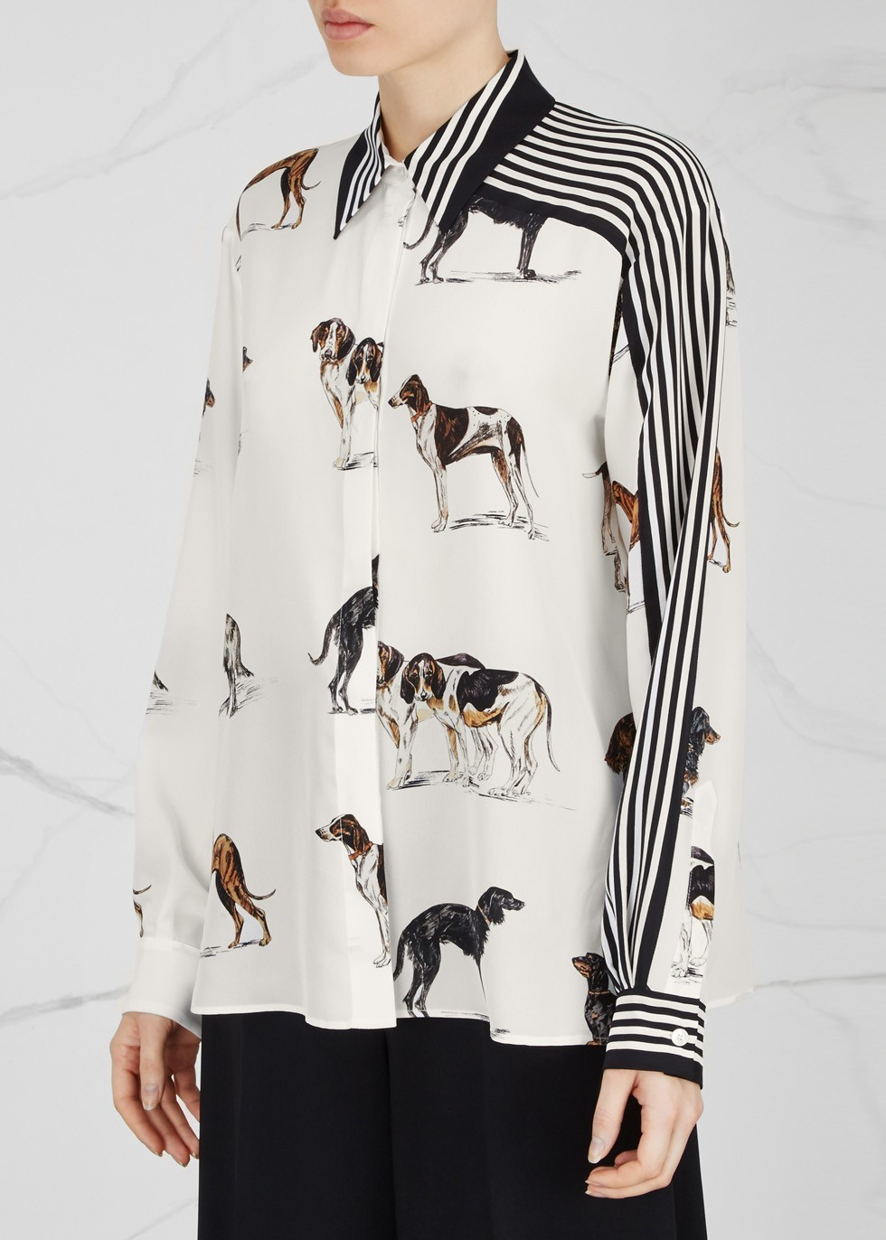17SS SM332 DOG & STRIPE PRINTED 'TESS' SILK BLOUSE