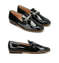 17SS TOD'S★Double-T Black Patent Loafers  関税/送料込