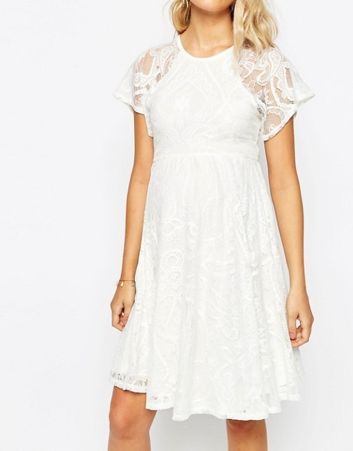 【国内/送関込】Maternity Flutter Sleeve Lace Skater Dress
