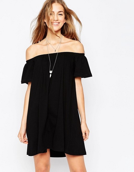 【国内発送/送関込】ASOS Off Shoulder Mini Dress/black