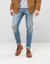 ASOS(エイソス) デニム・ジーパン 送料・関税込み Skinny Jeans With Knee Rips In 12.5o ジーンズ