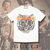 GUCCI Feline Print Cotton T-Shirt