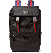 GUCCI(グッチ)Webbing-Trimmed Nylon-Canvas Backpack【送料込】