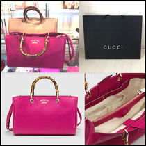 SALE!!【国内発送】GUCCI Bamboo Shoppereミディアム*フューシャ
