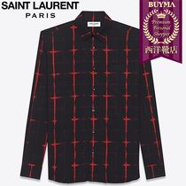 SAINT LAURENT 17SS┃TIE DYE PLAID YVES COLLAR SHIRT