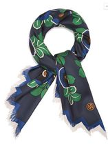 Tory Burch AVALON FRINGED SILK SQUARE SCARF