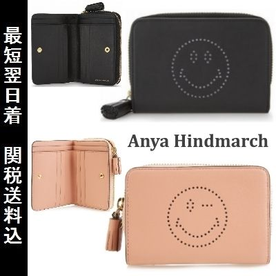 Smiley zip-around leather long wallet