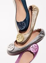 Tory Burch MINNIE TRAVEL BALLET FLAT, METALLIC LEATHER