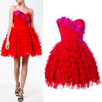 17SS DG869 TIERED RUFFLE BUSTIER DRESS WITH FLORAL BIJOUX