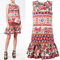 17SS DG878 'MANBO' PRINTED MINI DRESS WITH PEPLUM HEM