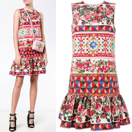 17th SS DG878 'MANBO' PRINTED MINI DRESS WITH PEPLUM HEM