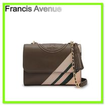 追跡TORY BURCH Fleming Stripe Small Convertible Handbag