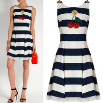 17SS DG889 CHERRY EMBELLISHED STRIPED CADY DRESS