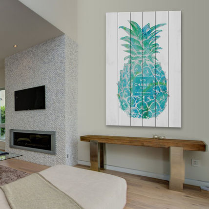 Marmont Hill Pineapple Trop Silver wood-panelled 5 sizes