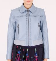 MM120 RUFFLED LEATHER JACKET