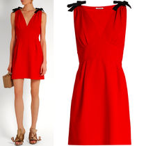 MM121 FAILLE CADY V-NECK DRESS WITH SHOULDER BOW