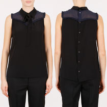 MM123 SLEEVELESS SILK BLOUSE WITH RIBBON TIE
