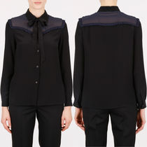 MM124 SILK BLOUSE WITH RIBBON TIE