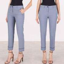 MM129 STRETCH WOOL CROPPED PANTS WITH PIPING