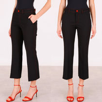 MM131 STRETCH WOOL CROPPED PANTS WITH CONTRAST STITCH