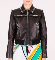 MM132 EMBELLISHED LEATHER JACKET WITH RUFFLED DETAIL