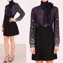 MM133 EMBELLISHED SILK & CREPE DRESS WITH RIBBON TIE