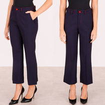 MM134 STRETCH WOOL CROPPED PANTS WITH CONTRAST STITCH