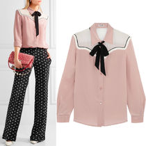 MM139 SILK BLOUSE WITH RIBBON TIE