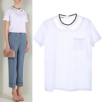 MM143 LACE PANEL INSET COTTON T-SHIRT