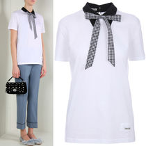 MM144 POINTED COLLAR COTTON TOP WITH RIBBON TIE