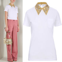MM145 EMBELLISHED COLLAR COTTON T-SHIRT