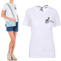 MM146 FAWN EMBELLISHED COTTON T-SHIRT WITH RIBBON TIE