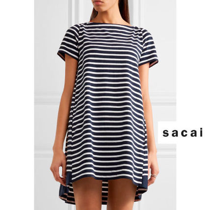 SACAI Dixie grosgrain trim stripe cotton minidress