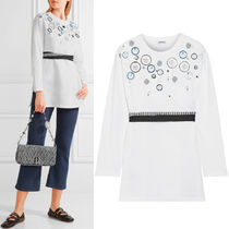 MM150 LOOK18 EMBELLISHED JERSEY TOP WITH RIBBON BELT