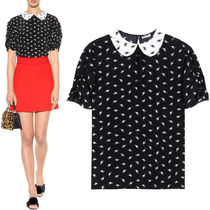 MM151 CAT PRINTED SILK BLOUSE WITH RIBBON TIE