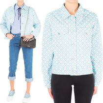 MM157 HEART PRINT OVERSIZED JACKET IN PERFORATED DENIM