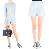 MM158 HEART PRINTED SHORTS IN PERFORATED DENIM