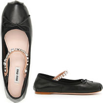 MM163 JEWELED BALLERINAS IN NAPPA LEATHER