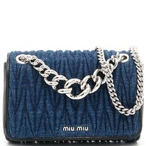 MM165 'MIU MIU CLUB' DENIM MATELASSE BAG