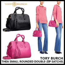 【Tory Burch】THEA SMALL ROUNDED DOUBLE-ZIP SATCHEL 41159702