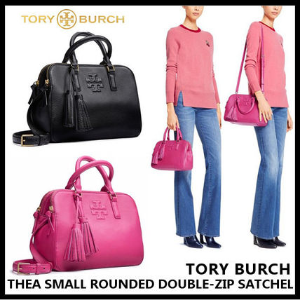 Tory Burch トートバッグ 【Tory Burch】THEA SMALL ROUNDED DOUBLE-ZIP SATCHEL 41159702