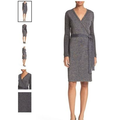 DVF:Evelyn Metallic Knit Wrap Dress