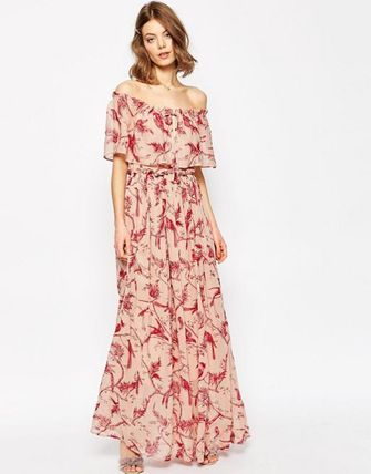 関税/送料込み☆Printed Ruffle and Tiered Off Sh☆ASOS ドレス