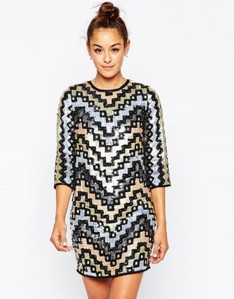 関税/送料込み☆Geo Sequin Mini Shift Dress☆ASOS ドレス
