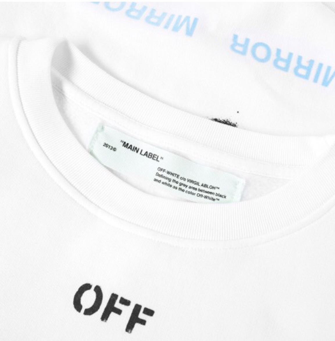 "17SS入手困難☆""Off-White""  DIAGONALS SPRAY CREW SWEAT"