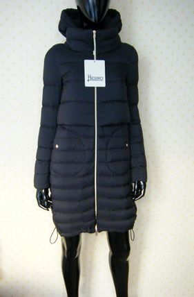 HERNO black Navy matte Nylon material long light and warmth