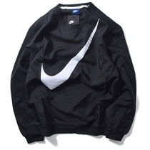 NIKE Big Swoosh Nylon Hybrid Crew Neck Sweatshirt (Black)
