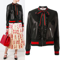 17SS WG236 RUFFLED BOMBER JACKET WITH WEB RIBBON TIE